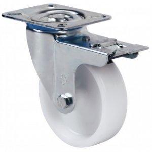 Rueda giratoria con freno UT Poliamix blanco Ø 100 mm.
